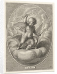Element fire as a child with lightning bolts on back of eagle by Adriaen Collaert