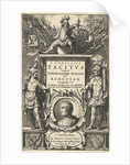 God enthroned on Mars column with war booty and portrait of Tacitus in cartouche flanked by two Roman soldiers by Joost Hartgers