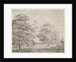 Wooded landscape with woman and child by Pieter Janson