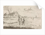 Landscape with Skaters and farm by Johannes Christiaan Janson