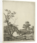 Landscape with cattle in river by Johannes Janson