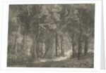 Hunter and his dog in the woods by Hermanus Jan Hendrik van Rijkelijkhuysen