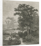 Man and woman at a trickle by Hermanus Jan Hendrik van Rijkelijkhuysen