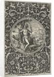 Medallion which Paris, sitting against a tree by Adriaen Collaert