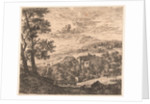 Hill landscape with houses and donkey and two sheep by Karel Dujardin