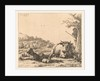Landscape with shepherd tree and lying cow with sheep and lamb by Karel Dujardin