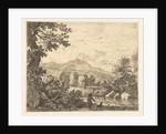 Hill landscape with man and dog by Karel Dujardin