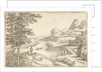 Stone bridge at a river junction by Jan van Almeloveen