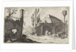 Country road at a ruin and an inn by Gillis van Scheyndel I