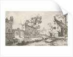 Hearing, at the river are a farm, a tower and other buildings by Gillis van Scheyndel I