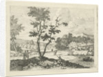 Italianate landscape with figures by F.W. Musculus