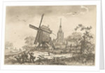 landscape with a windmill and a church by Timothy Sheldrake