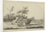 Two white cows lying in front of a group of trees by Pieter Gaal