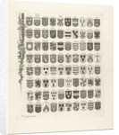 Lower left leaf of a set of nine prints, all with weapons of ancient lineages from Utrecht by Johannes van Hiltrop