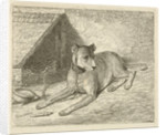 Dog on a chain in a doghouse, For him a bone, Bottom left numbered 2 by Johannes Mock