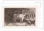 Farmer between two cows in a stable (small version) by Jan Vrolijk