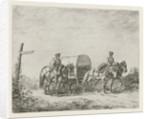 Two soldiers on horseback on the road by Christiaan Wilhelmus Moorrees