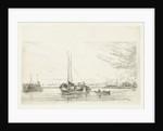 River view with boat and rowboat by Jan Daniël Cornelis Carel Willem baron de Constant Rebecque