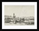 Landscape with shepherd dog with sheep herd by Simon van den Berg