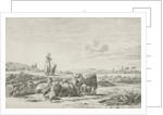 Landscape with shepherd dog with sheep herd by Simon van den Berg