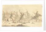 Cavalry during a battle by Gerardus Emaus de Micault