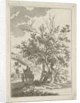Landscape with farm wagon at inn by Hermanus Fock