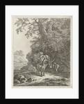 beast of burden on country road with it exonerating man by Hendrik Godart de Marée