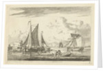 Beach and sea with several boats by Gerrit Groenewegen