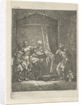 In a dark bedroom is Aristodemus prince of Cuma in bed while he is betrayed by his companion Xenocrite by Arnold Houbraken