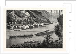 Barges on the Mekong River, Cambodia. by Anonymous