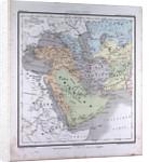 Western Asia or West Asia, antique map 1869 by Th. von Liechtenstern and Henry Lange