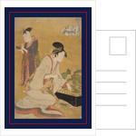 Ôgiya uchi Yashio, Someki, Tsumaki, Yashio of the Ôgiya, kamuro Someki, Tsumaki by Utamaro Kitagawa