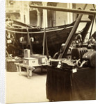 Boat alongside other objects of the National Industry Exhibition for the Palace of Industry, Amsterdam by Anonymous