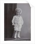 Studio Portrait of a baby in a white sailor suit with hat by C.J.L. Vermeulen