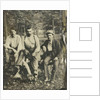 Portrait of three men sitting on a tree stump? In a forest by Anonymous