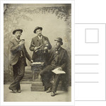 Portrait of three men with bottle and glasses, standing and sitting in front of a painted backdrop (trees) by Anonymous