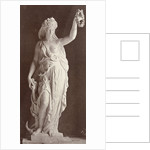 Marble statue of a woman in a robe with a bare chest, in her left hand she wears a laurel wreath in her right a ship's anchor by Louis-Emile Durandelle