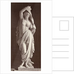 Marble statue of a naked woman draped with cloth body by Louis-Emile Durandelle