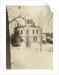 View of a wooden house (with turret or widow's walk or predatory walk) in the snow by Anonymous