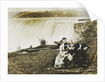 Group portrait of a man, woman and boy with Niagara Falls in the background by Edward Davis