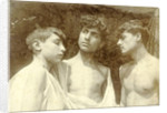 Portrait of three boys with bare torsos, Taormina, Sicily, Italy by Anonymous