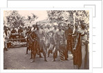 Festive dressed Indian men with gamelan in Ambon, Indonesia by Anonymous