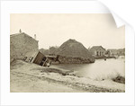 Collapsed haystack and ruined barns and houses in a flooded suburb of Paris by France