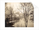 house flooded suburb of Paris seen through bare trees, France by Anonymous