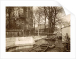Boats along a quay during the flooding of Paris by France