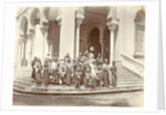 Group portrait of Indian women and children on the steps of the Grand Mosque in Banda Aceh, Indonesia by Anonymous
