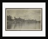 Bank of a village with derricks and buildings seen from the water by Anonymous