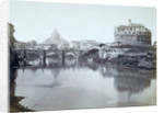 General view of the bridge, and castel st. Angelo with the Tiber and the dome of St. Peter's by Anonymous