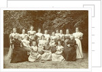 Group portrait of girls and teachers, with tennis and cricket stick by Blitz en Zn