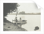 Children with a rowing boat on the bank of a river or lake by Anonymous